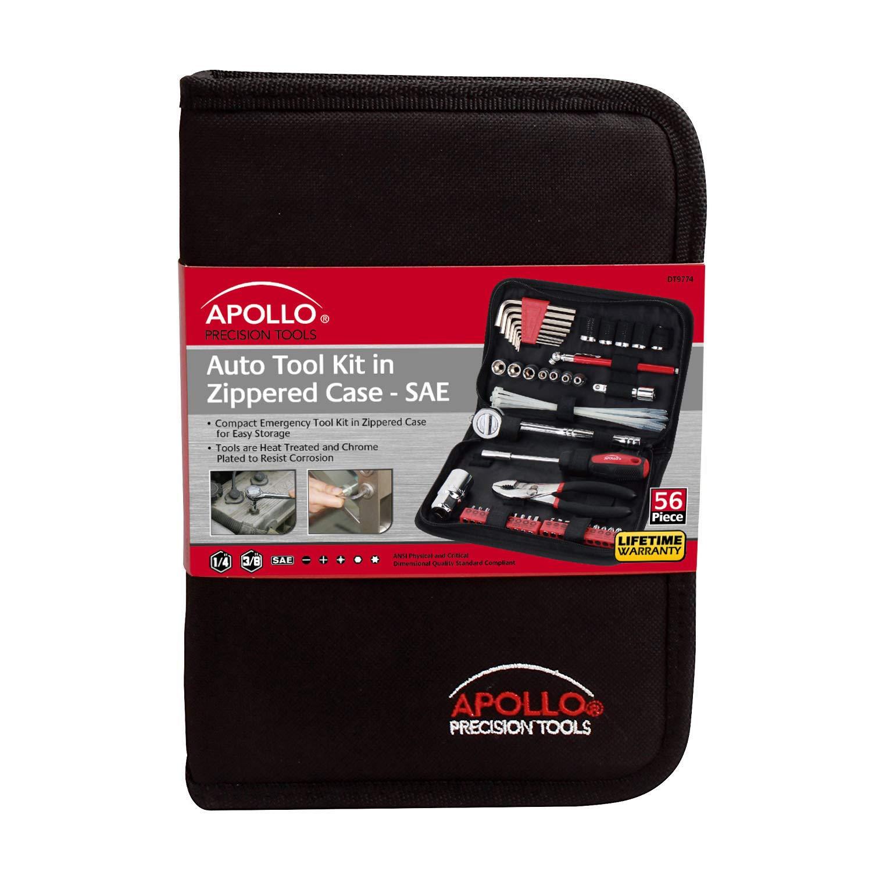 56-Piece Apollo Precision Tools DT9774 Auto Tool Kit Zippered Case
