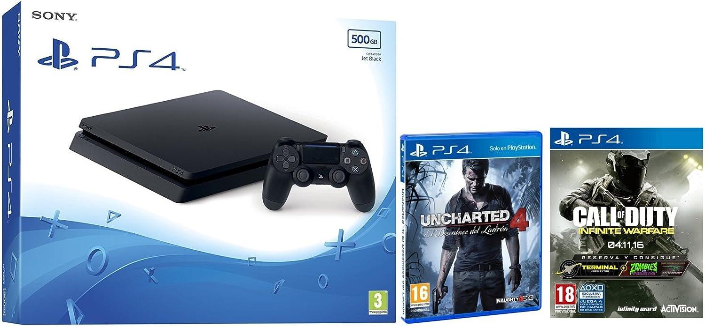 PlayStation 4 Slim (PS4) 500 GB - Consola + Call Of Duty: Infinite Warfare + Uncharted 4: Amazon.es: Videojuegos