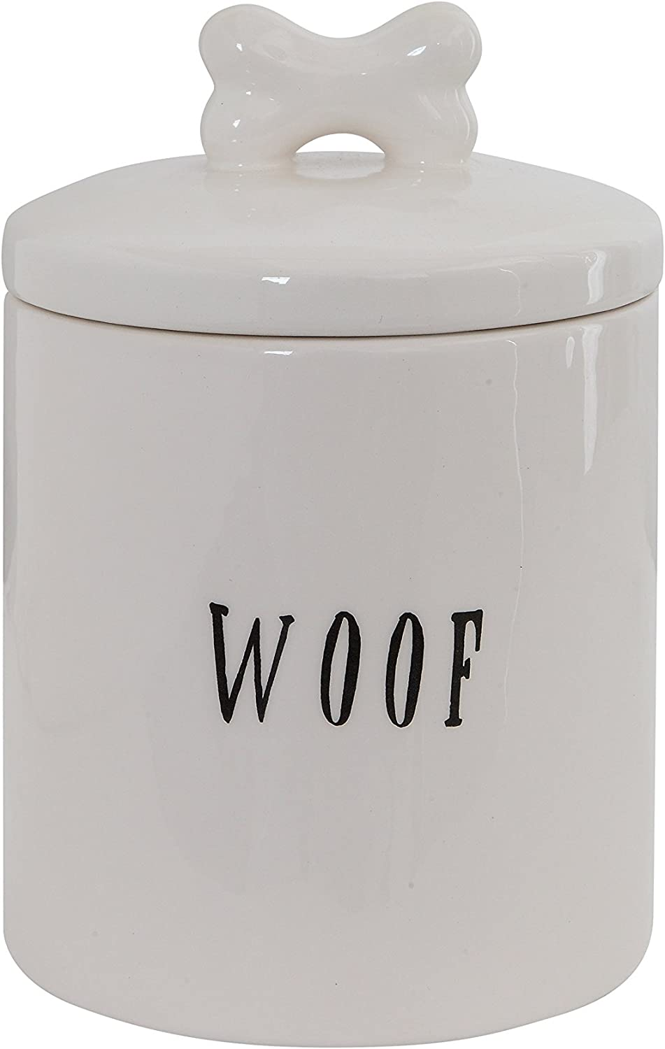 Amazon Com Creative Co Op Woof Ceramic Dog Treat Jar With Bone Handle In Lid 6 Round X 8 5 Tall White Kitchen Dining