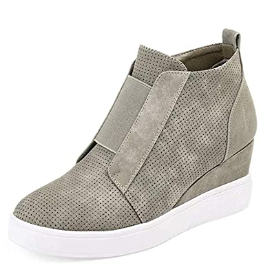 Ermonn Womens Wedge Sneakers Fashion High Top Side Zipper Platform Booties  Flat Shoes Green