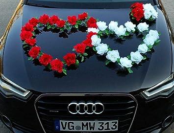 Amazon De Doppel Herz Auto Schmuck Braut Paar Rose Deko Dekoration