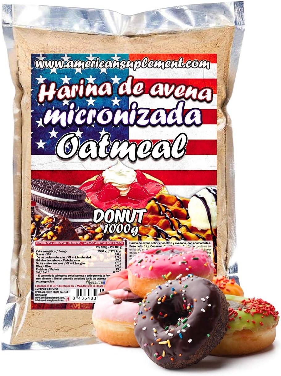 American Suplement - 1000 gr - Harina de Avena Integral, ideal para tortitas, batidos, bizcochos y magdalenas (DONUT): Amazon.es: Salud y cuidado personal