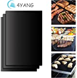 BBQ Grill Mat Set of 3- 4YANG Grilling Mats 100% Nonstick Barbeque Grill & Baking Sheets - FDA-Approved, PFOA Free, Reusable and Easy to Clean - Works on Gas, Charcoal, Electric Grill and More