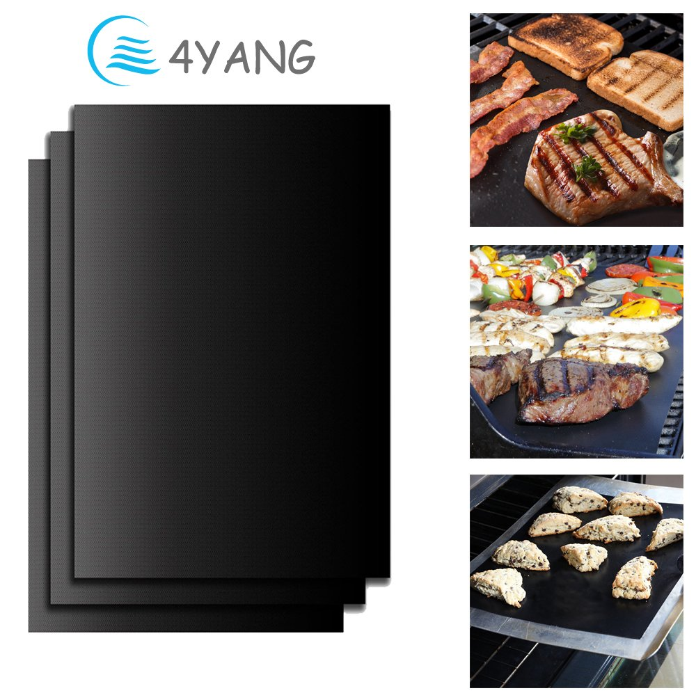 BBQ Grill Mat Set of 3 - 4YANG Grilling Mats 100% Nonstick Barbeque Grill & Baking Sheets - FDA-Approved, PFOA Free, Reusable and Easy to Clean - Works on Gas, Charcoal, Electric Grill and More COMINHKPR117472