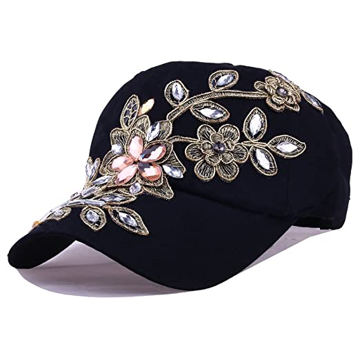 6069e688bf3 CRUOXIBB Black Womens Baseball Hat Lace Bling Flower Rhinestone Snapback  Hip Hop Cap