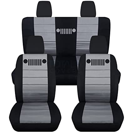 2011 2018 Jeep Wrangler JK Seat Covers: Black U0026 Silver   Full Set: