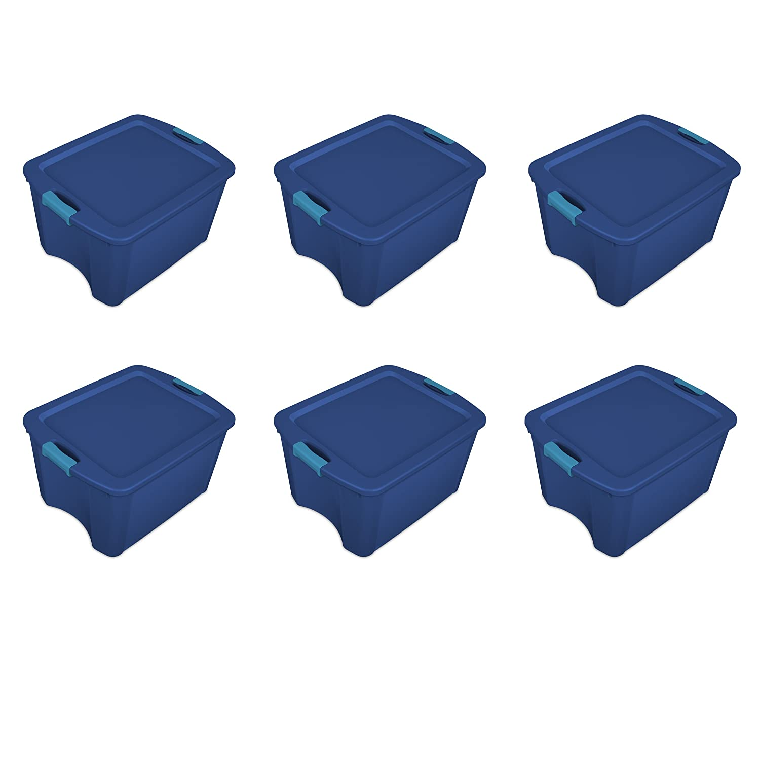 Sterilite 14467406 18 Gallon/68 Liter Latch and Carry, True Blue Lid and Base with Blue Aquarium Latches, 6-Pack