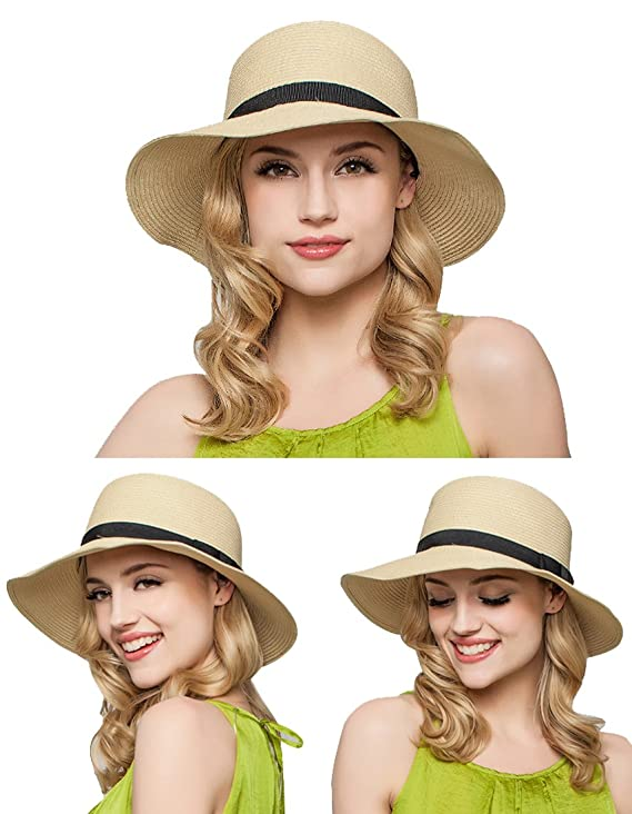 f86a8d2cc33e95 Kuyou Elegant Damen Sommer Kappe Hut Frauen Faltbar Sonnenhut Strohhut  (Beige): Amazon.de: Bekleidung