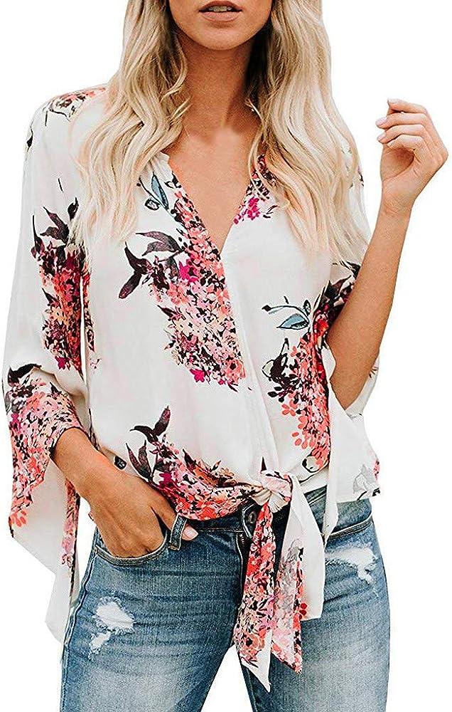 Camisa de Mujer con Estampado Floral y Corbata para Mujer, Color ...