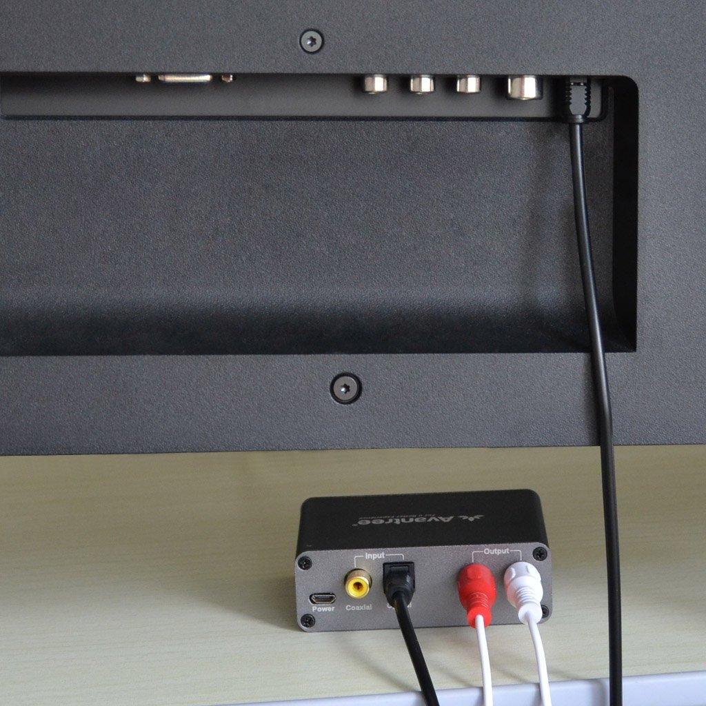 Avantree DAC Digital a analógico convertidor de audio adaptador con cable óptico de 6,5 m y control de volumen, de TV óptico/coaxial a auriculares o ...