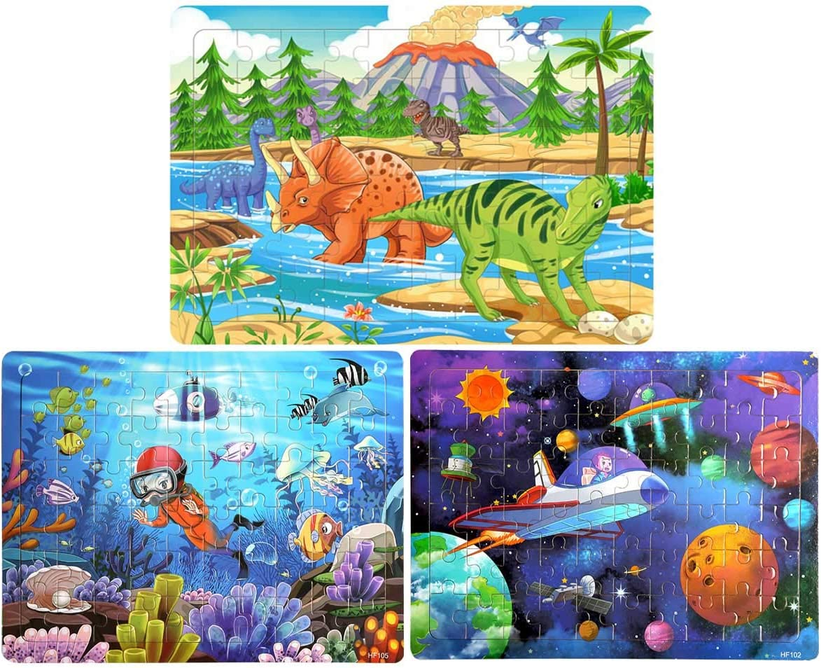 Wooden Jigsaw Puzzles for Kids Age 4-8 Year Old 60 Piece Colorful Wooden Puzzles for Toddler Children Learning Educational Puzzles Toys for Boys and Girls (3 Puzzles)