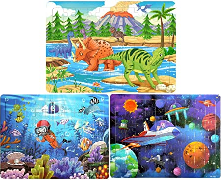 Sitodier Puzzles for Kids Ages 3-8 Six Colorful 60-Pieces Wooden Jigsaw Puzzles for Toddlers 6 Puzzles Preschool Educational Learning Toys Set for Boys and Girls