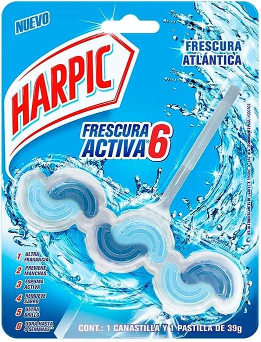 Harpic Frescura Activa 6- Pastilla Desodorante para Inodoro Aroma Marino 39 g