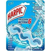 Harpic Frescura Activa 6- Pastilla Desodorante para Inodoro, Aroma Marino, 39 g