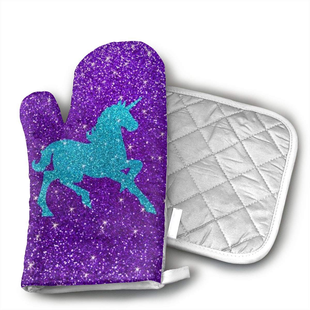 Xayeu Glitter Unicorn Oven Mitts for Kitchen Heat Resistant, Oven Gloves for BBQ Cooking Baking, Grilling,