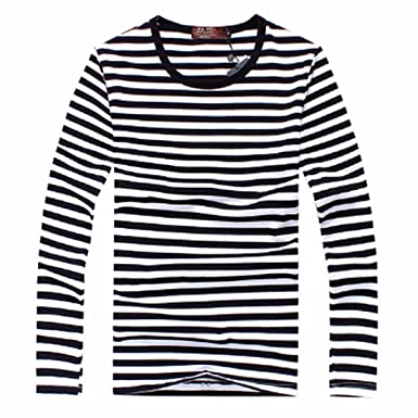 Men Long Sleeve O-Neck Cotton Horizontal Striped Breton Top Tops ...