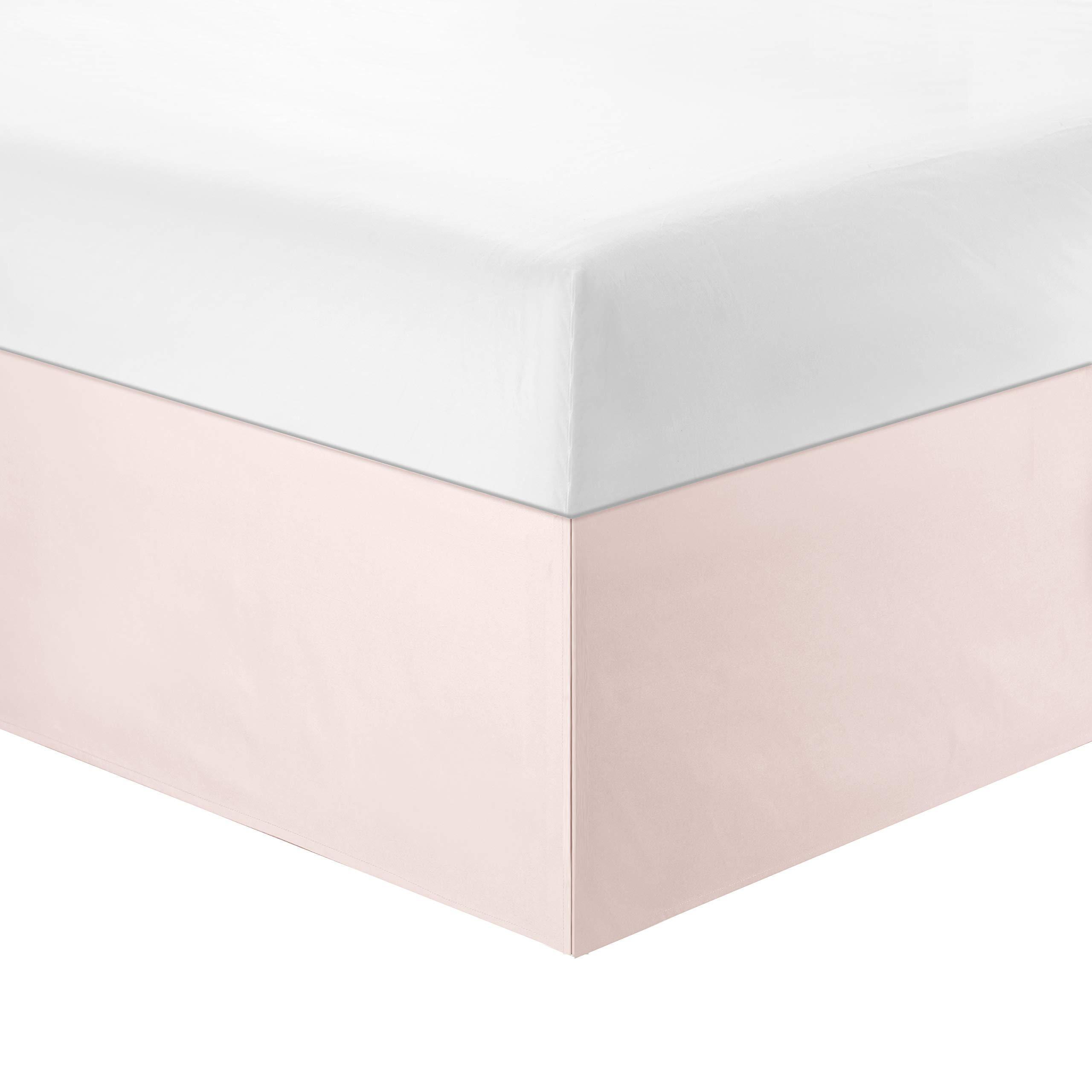 WINLIFE Dust Ruffle Bed Skirt Solid Bed Skirt Wrinkle Resistant Microfiber Bed Skirt 14-inch Drop Pink,Queen