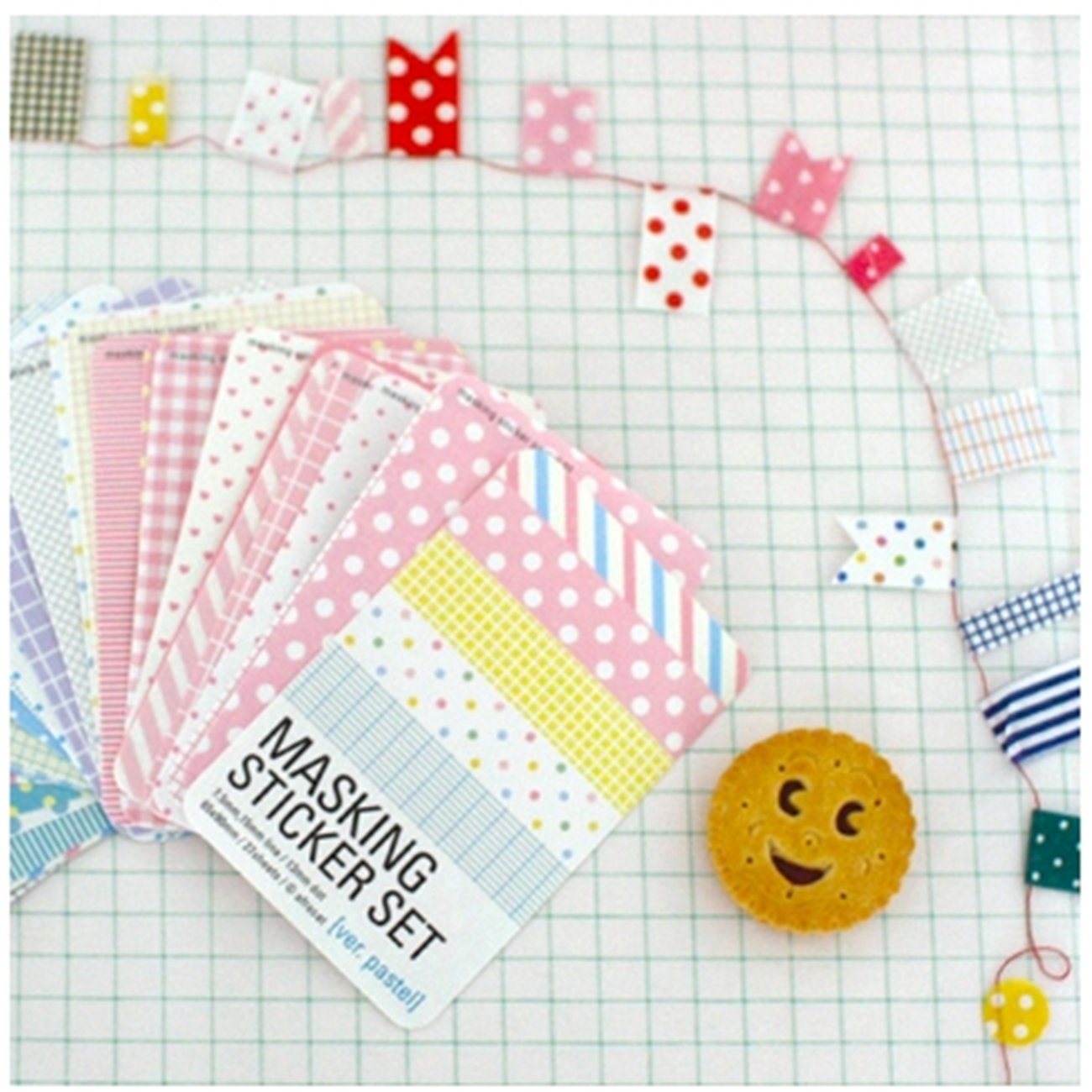Wrapables Decorative Patterns Masking Sticker Set, Pastel