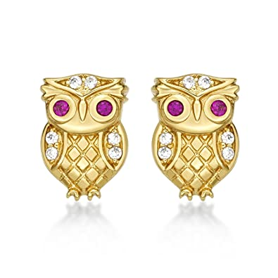 d92c3e2b6 Diamond Treats Gold Owl Earrings in 18K Yellow Gold Plated 925 Sterling  Silver with FLAWLESS White