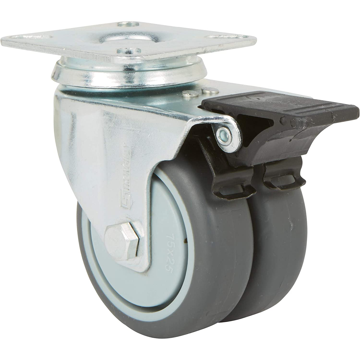 Capacity Strongway 3in Thermoplastic Rubber Wheels 330-Lb Swivel Dual-Wheel Caster with Brake