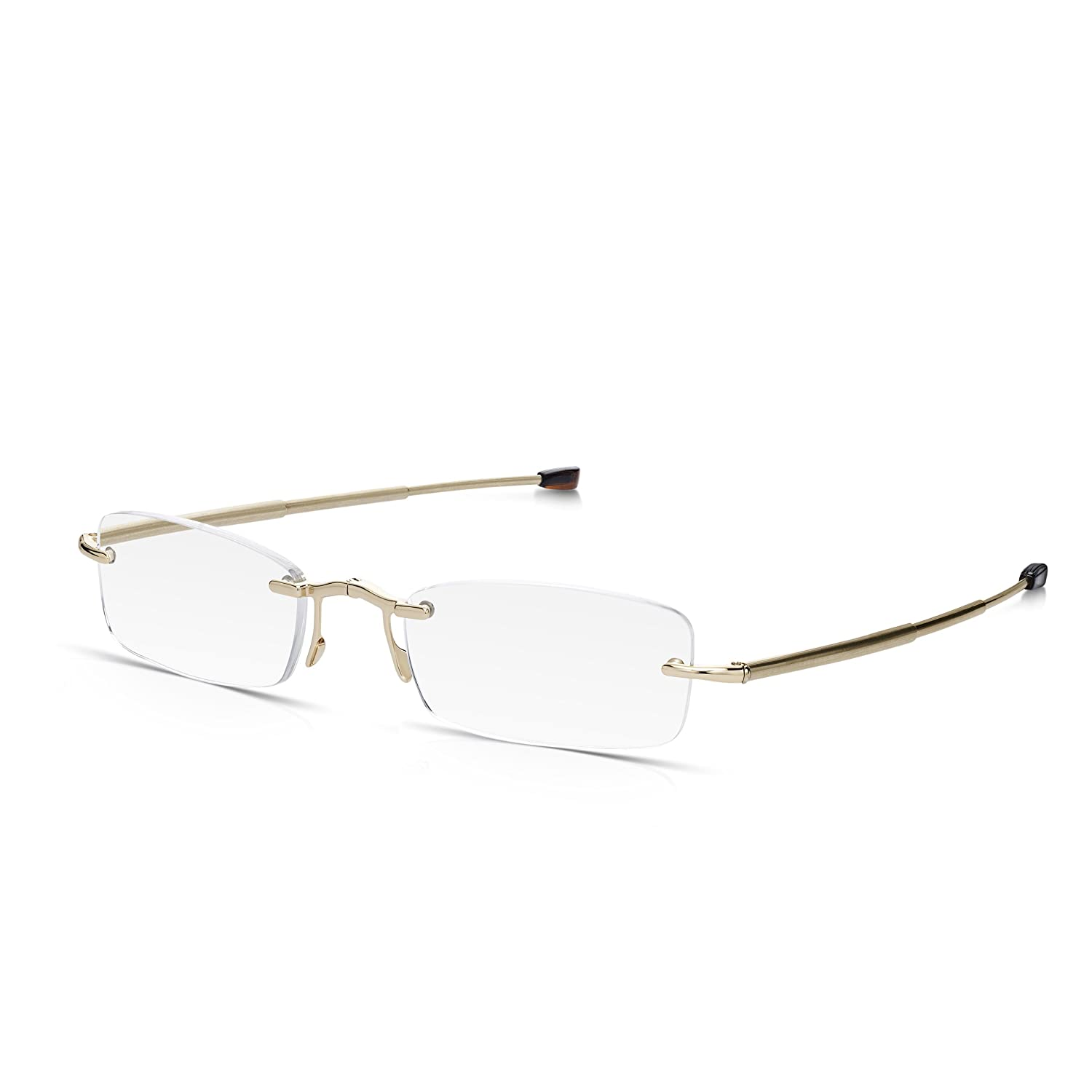 2.5 Read Optics 2 Pack Compact Folding Reading Glasses Telescopic Arms in Gold Stainless Steel for Men and Women Plus Free Slim Pocket Size Hard Case Rimless Rectangular Optical Quality Lenses
