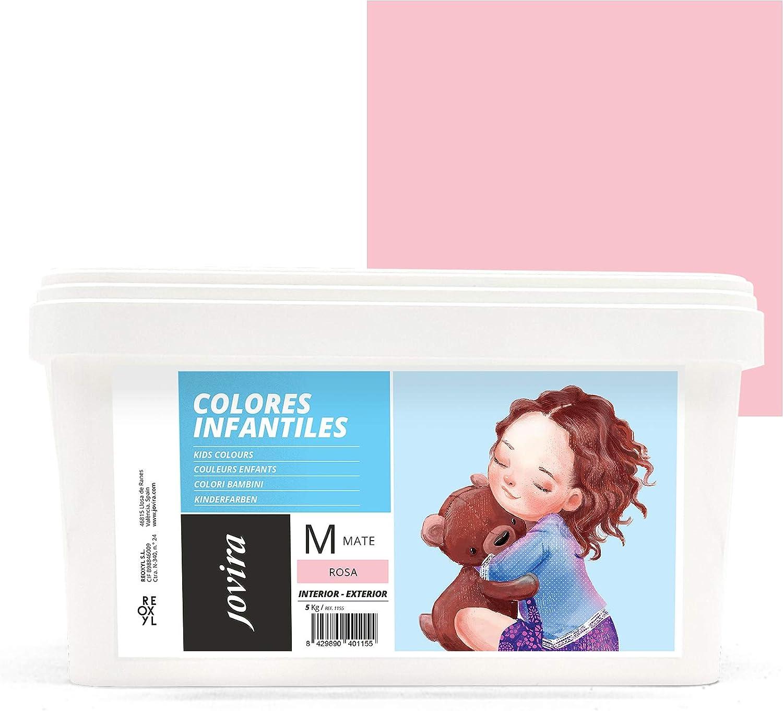 COLORES INFANTILES Pintura plástica ecológica sin olor e hipoalergénica de acabado mate y luminoso. (5 KG, ROSA)