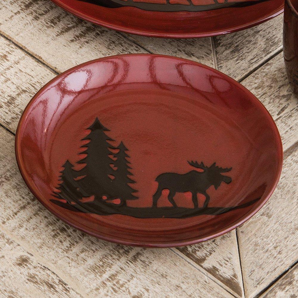 Amazon.com | Moose and Bear Lodge Stoneware Moose Salad Plate - Lodge Dining Decor Dining u0026 Entertaining & Amazon.com | Moose and Bear Lodge Stoneware Moose Salad Plate ...