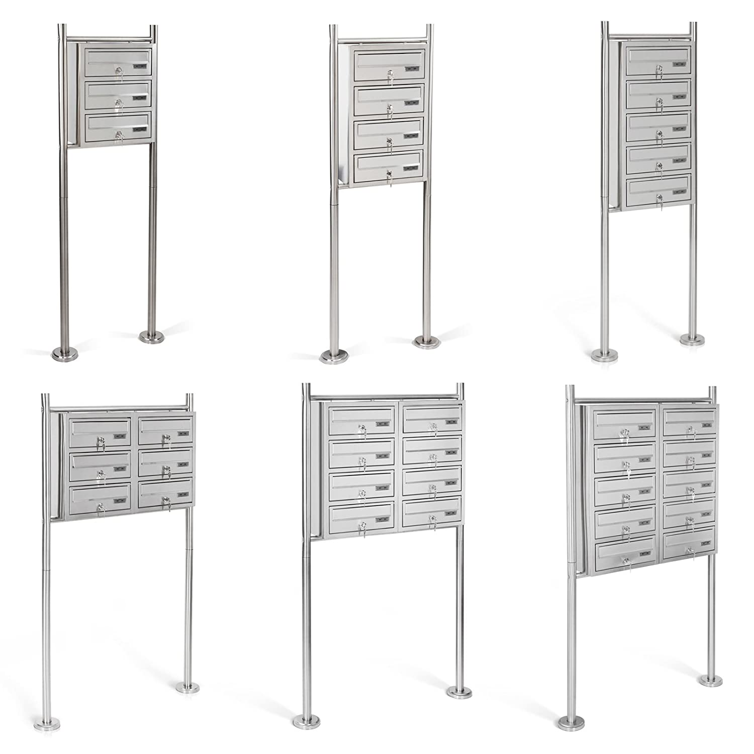 Jago Mailbox on Stand Silver CHOOSE FROM DIFFERENT AMOUNTS OF COMPARTMENTS (3 compartments)