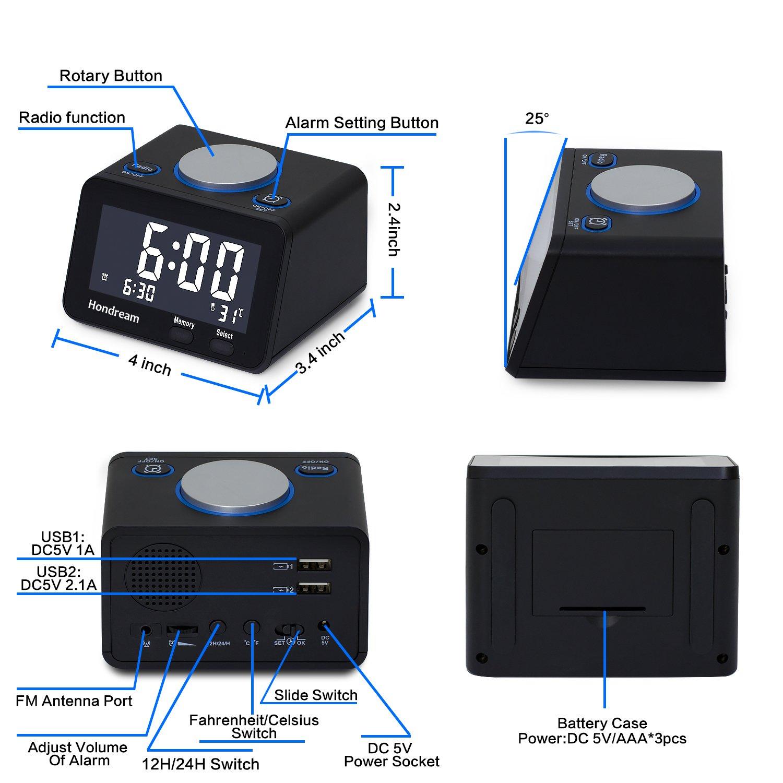Alarm Clock, USB Alarm Clock, Digital Alarm Clock Radio with Clock ...