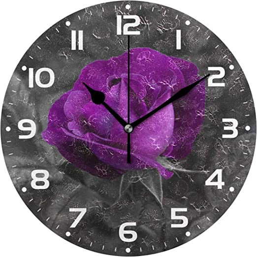 ALAZA Home Decor Purple Lotus Flower Butterfly Round Acrylic 9 Inch Wall Clock Non Ticking Silent Clock Art for Living Room Kitchen Bedroom