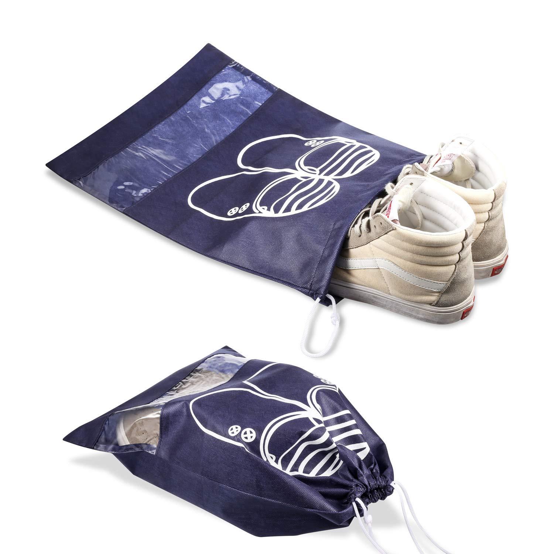 Portable Anti-poussi/ère avec Fen/être Transparente Bleu Fonc/é Sacs de Voyage Respirants Sacs Organisateurs Lot DE 12 Travel Sacs /à Chaussures de Voyage