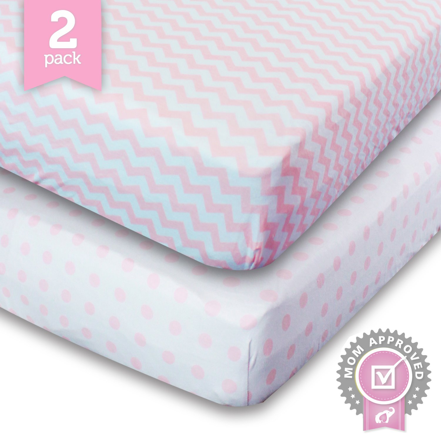 Ziggy Baby Crib Sheet, Toddler Bedding Fitted Jersey Cotton (2 Pack) Chevron, Dot, Pink/White