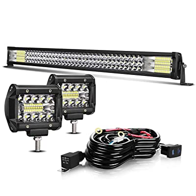 "TURBO SII Led Light Bar 32"" Inch 180W Spot Flood Offroad Driving Lights w/4"" Pods Cube Auxiliary Led Work light Fit Truck Jeep Polaris RZR Trailer Tacoma Boat ATV UTV SUV Pickup Lamp: Automotive"