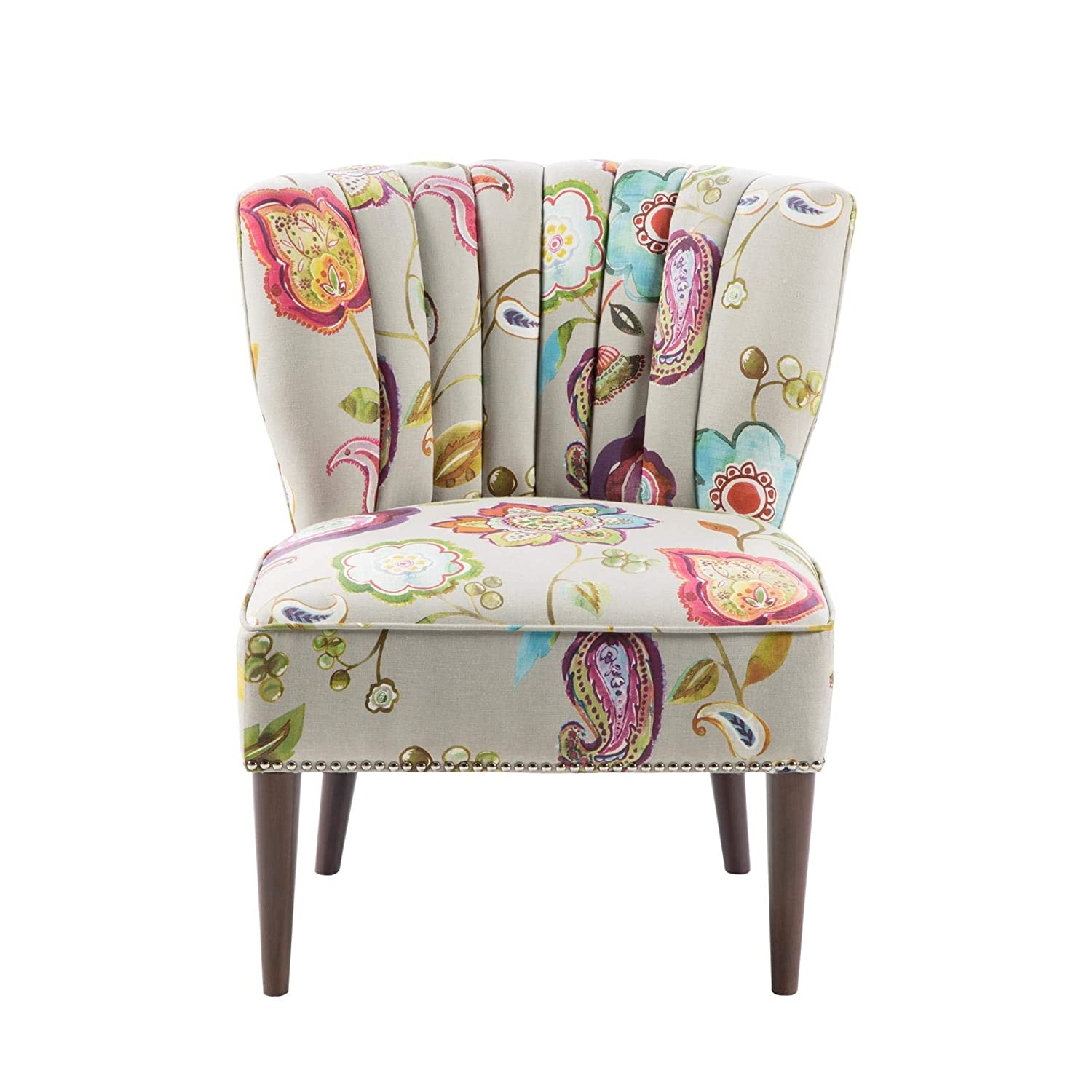 Madison park korey accent chairs hardwood birch wood fabric living room chairs khaki purple blue floral paisley style living room sofa furniture