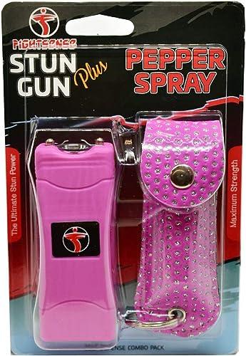 FIGHTSENSE Mini Stun Gun Pepper Spray Combo Pack for Self Defense – Extremely Powerful Stun Gun for Women with Flashlight
