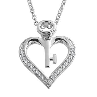 Amazon diamond 925 sterling silver key my heart pendant diamond 925 sterling silver key my heart pendant necklace 008 carat mozeypictures Images