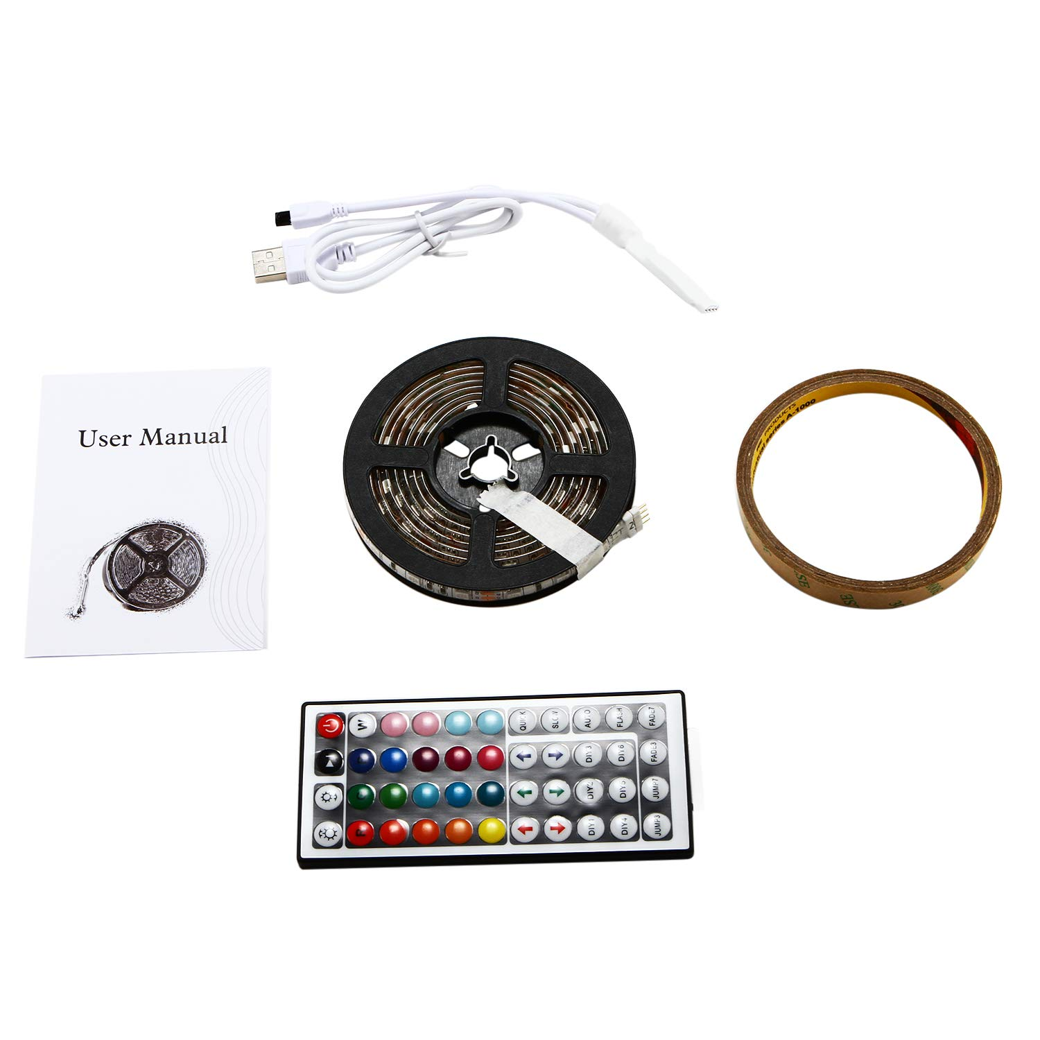 ZHT Bias Lighting for HDTV.USB LED Backlight Strip.Background Lighting.Led Light Strip DC5V SMD 5050 RGB with 44 Key Ir Controller Kitchen Bedroom and Sitting Room LED Strip Lights (Waterproof)