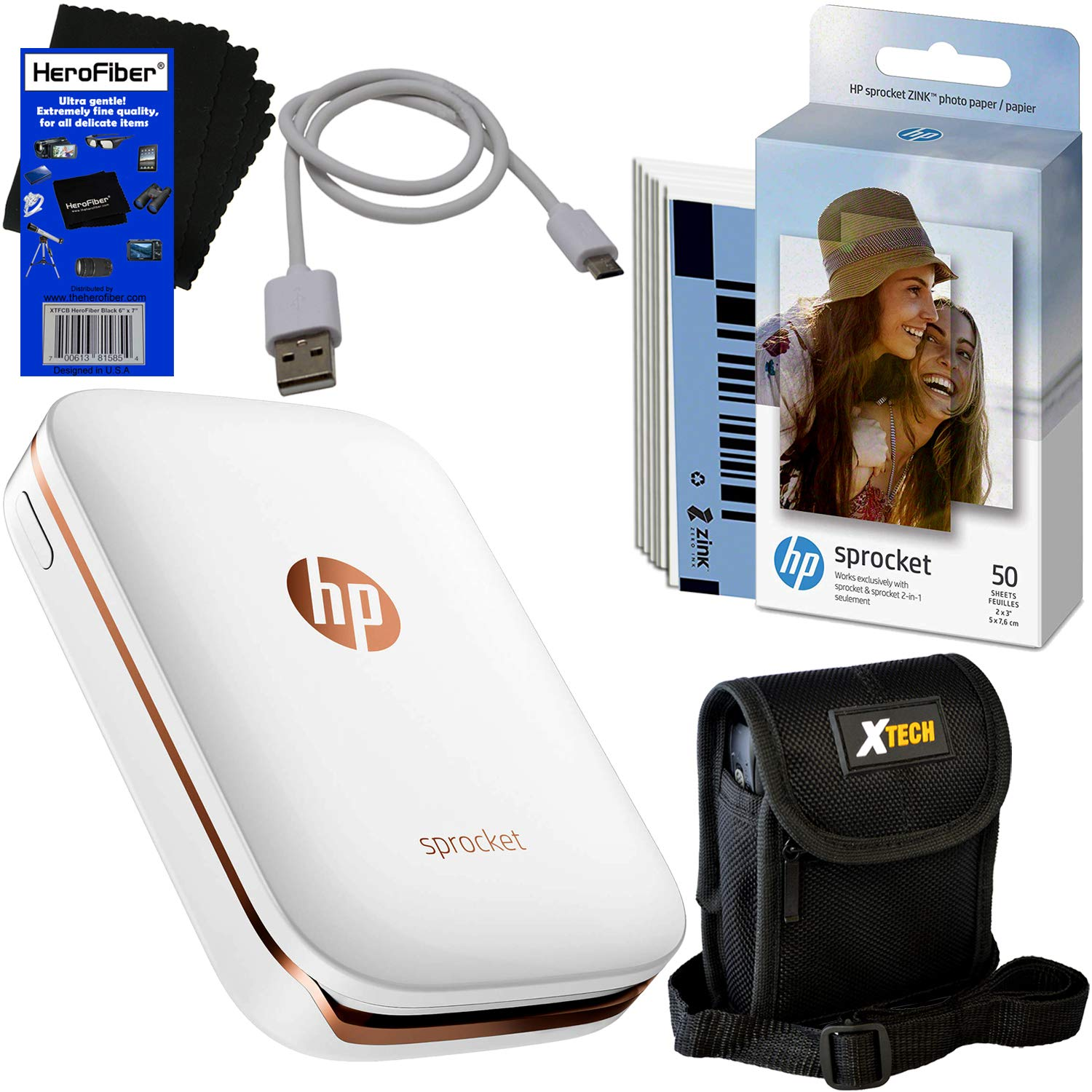 HP Sprocket Photo Printer, Print Social Media Photos on 2x3 Sticky-Backed Paper (White) + Photo Paper (60 Sheets) + Protective Case + USB Cable + HeroFiber Gentle Cleaning Cloth by HeroFiber