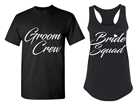 82d812d3e4a Couples Apparel Bride Squad and Groom Crew Matching Bachelorette Party T  Shirts - Bridal Tank Tops