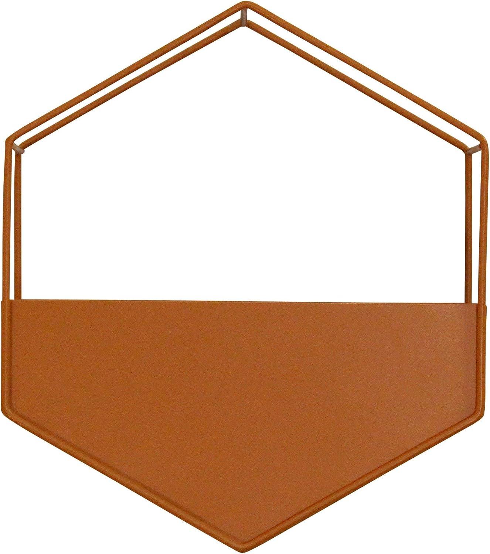 Stratton Home Décor Stratton Home Decor Orange Metal Wall Planter, 9.00W X 4.00D X 10.25H