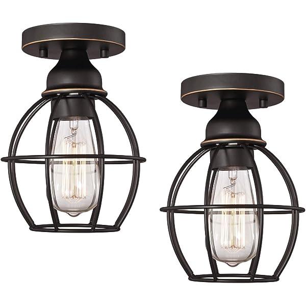 200watts Satin Nickel 2-Light 13Dia x 8H Feiss SF259BS Sunset Drive Glass Semi Flush Ceiling Lighting