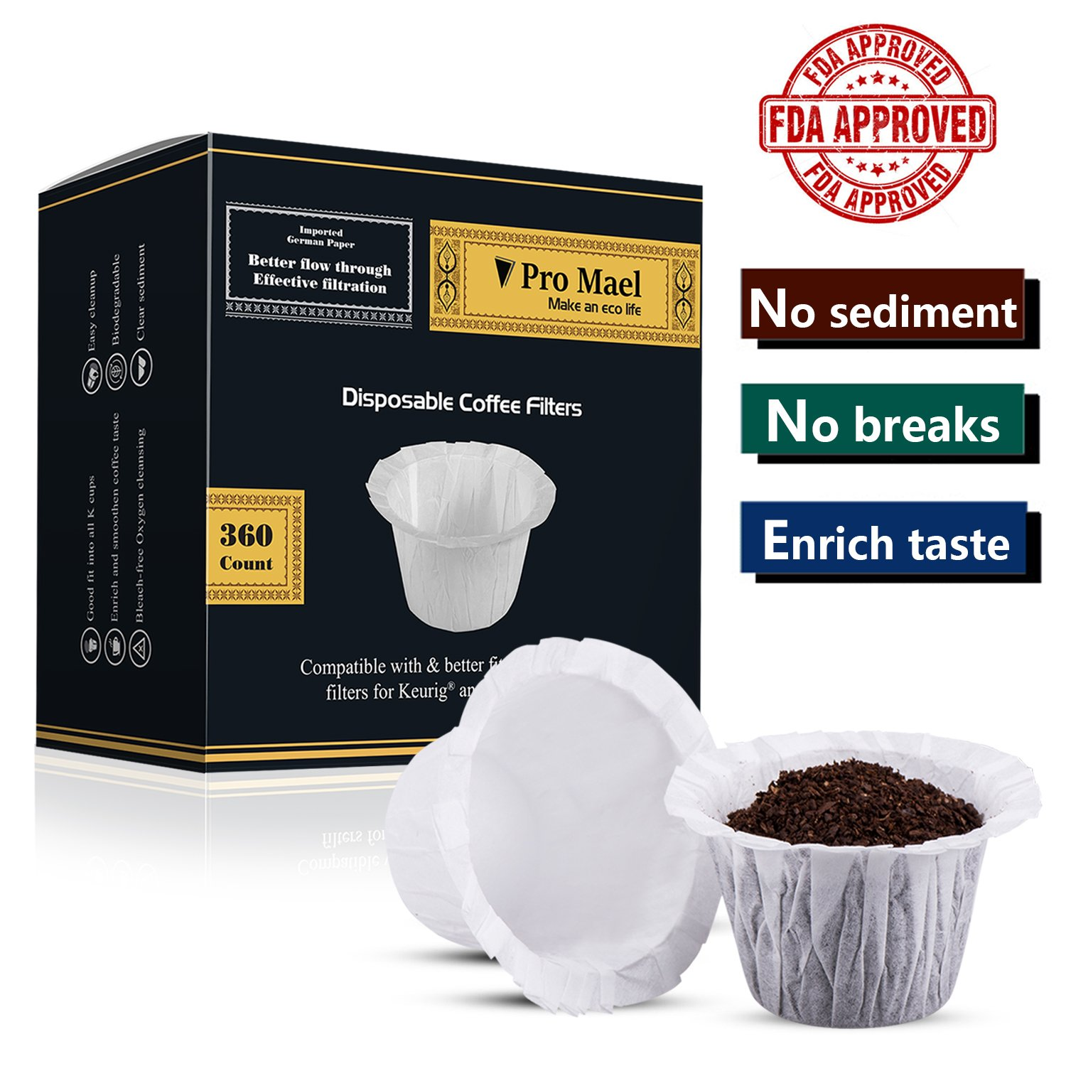 Disposable Coffee Filters 360 Counts Coffee Filter Paper for Keurig Brewers Single Serve 1.0 and 2.1 Use with All Brands K Cup Filter (1)
