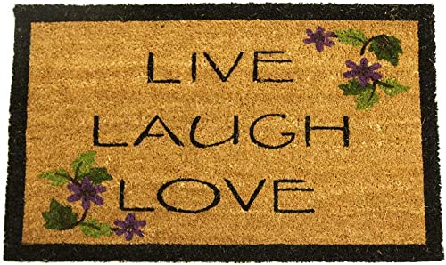 Rubber-Cal Live, Laugh, Love Novelty Contemporary Doormat, 18 x 30-Inch