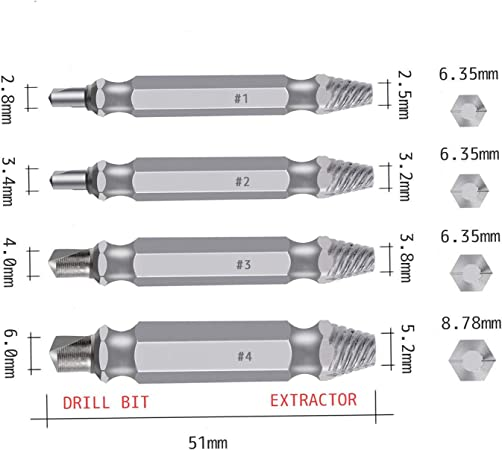 4 Piece Drill Bit Screw Bolt Extractor Set Removes Stripped Damaged Broken Screw
