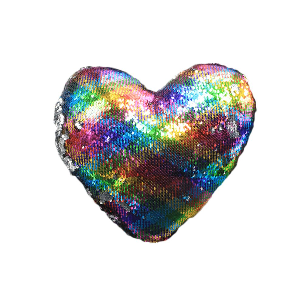 Haperlare 14 x 14 inch Heart Shaped Pillow Cover with Insert Sequin Pillow Mermaid Sequin Pillow Reversible Sequin Pillow for Christmas Party Home Decorations Colorful