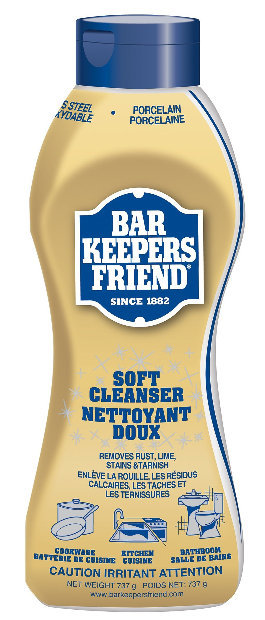 Bar Keepers Friend Soft Cleanser Liquid (25.4 oz - English/French) - Multipurpose Cleaner & Rust Stain Remover for Stainless Steel, Porcelain, Ceramic Tile, Copper, Brass, and More