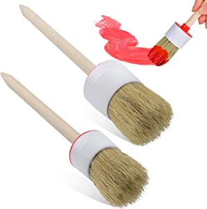 2 PCS Set Chalk Wax Paint Brush Natural Bristles Smooth Bristle Round Brushes Tool Wood Handle for Stencils DIY Painting Waxing Furniture Home Decor Indoor Outdoor Folk Art for Beginners Professionals