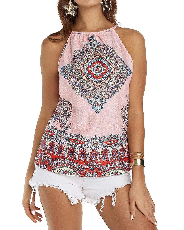 97e503b9fa433 YOINS Women Tank Tops Summer Casual Cami Tops Sexy Sleeveless Round Neck  Vest Shirt Blouse  Amazon.co.uk  Clothing