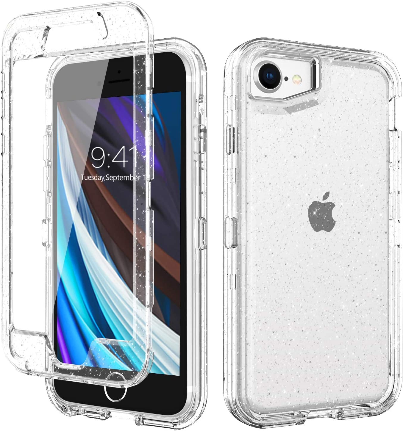 BENTOBEN Case for iPhone SE 2020 / iPhone 8 / iPhone 7 / iPhone 6S / iPhone 6 4.7 inch, Transparent Clear Heavy Duty Rugged 3 in 1 Hard PC Soft TPU Bumper Protective Case, Silver Glitter Crystal Clear