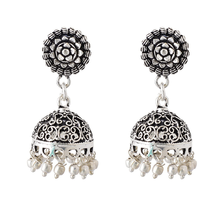 Subharpit Silver Non-Precious Metal Indian Jhumki Earrings for Women /& Girls